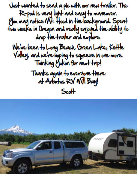Arbutus RV Rpod customer letter to MB