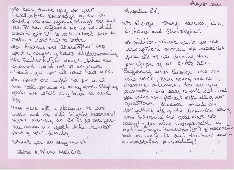 Arbutus RV Meikle Thank You note Courtenay
