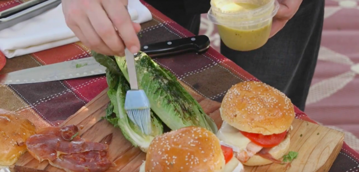 Brie & Prosciutto Burgers with Grilled Caesar Salad