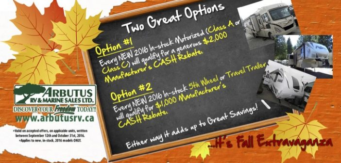 Fall Extravaganza 2016 – GREAT Prices PLUS $2,000 or $1000 Mfg REBATES!!!